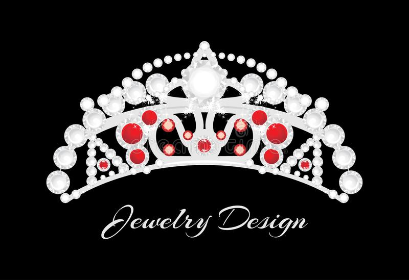 Shining silver crown on a black background. Jewelry design stock images