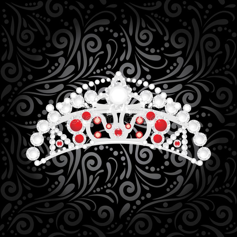 Shining silver crown on a black ornamental background royalty free stock images