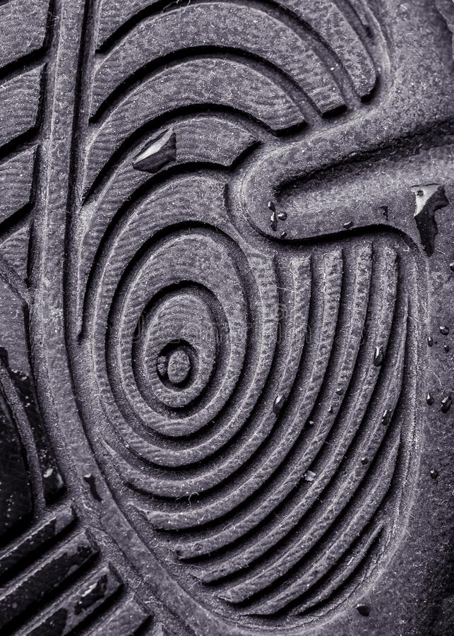 Close up detail of sole of shoe. Pattern of concentric ovals. royalty free stock image
