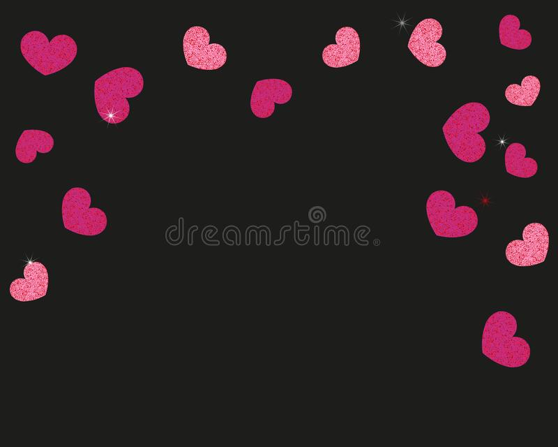 Shining sparkle red and pink hearts with black background. Happy Valentine`s day background wallpaper royalty free illustration