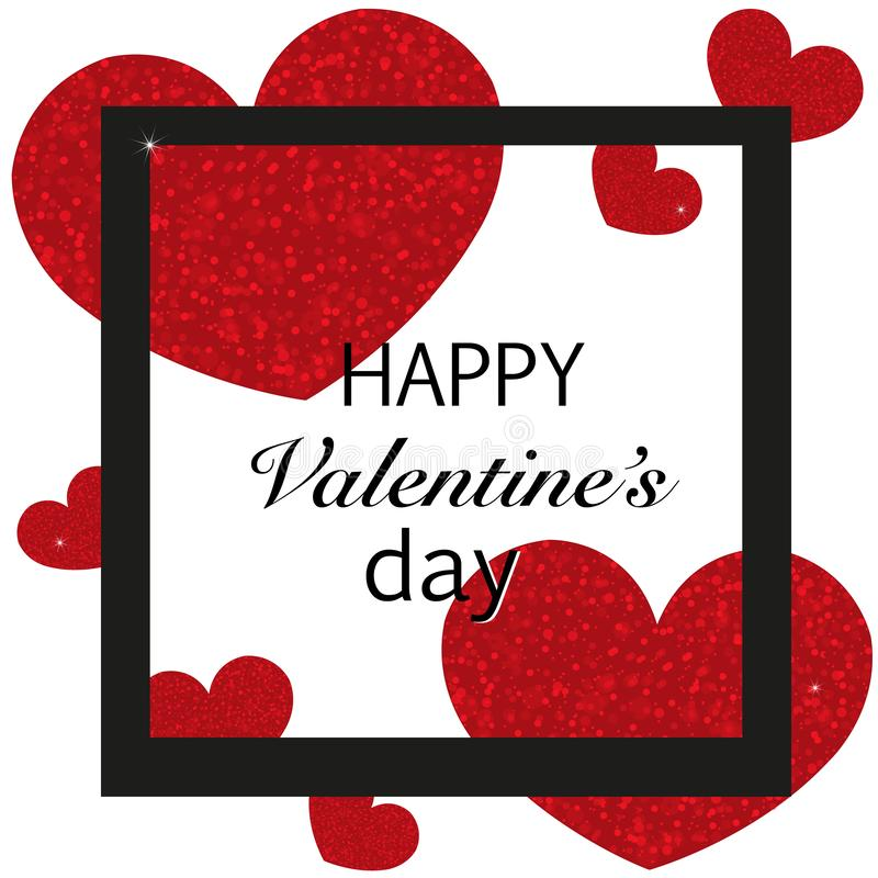Shining sparkle red and pink hearts with black square frame background. Happy Valentine`s day wallpaper stock illustration