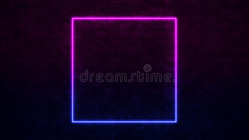 Shining Square Neon Sign. Purple and Blue Neon frame. dark brick wall. 3d render royalty free illustration