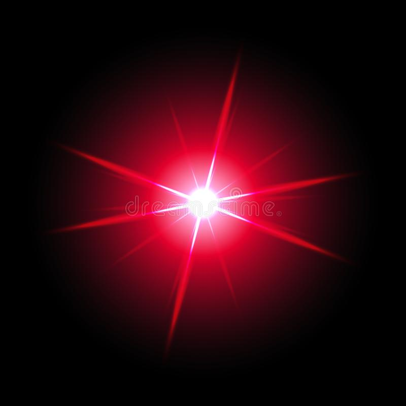 Shining star on black background, red color vector illustration