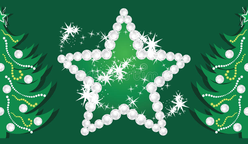 Shining star and Christmas trees on the dark green