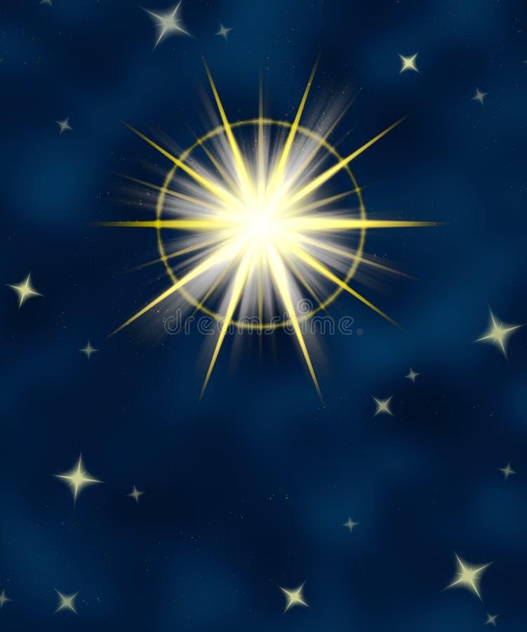 Shining star flare night sky