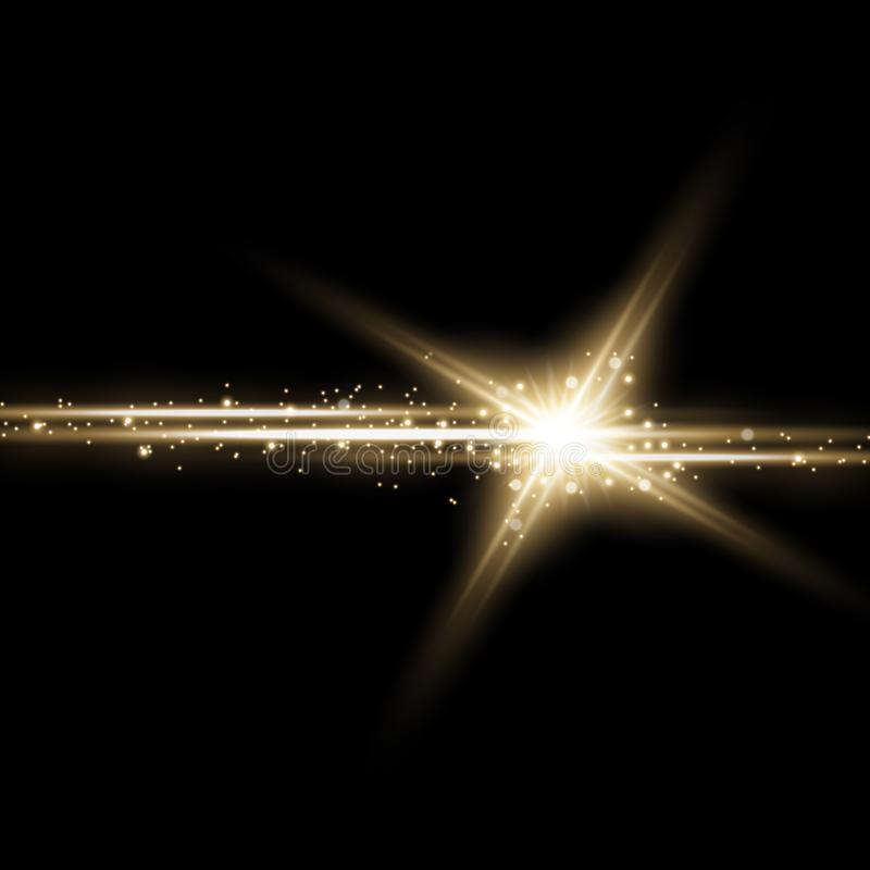 Shining star with a stardust, golden color vector illustration