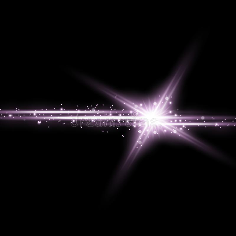 Shining star with a stardust, purple color stock illustration