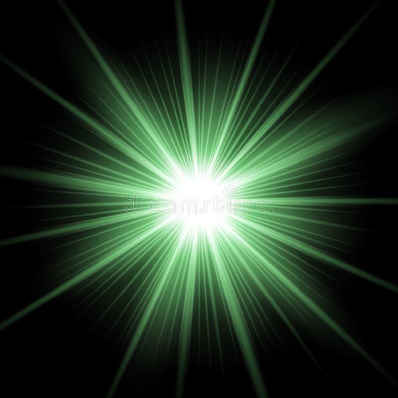 Shining star on transparent background, green color stock illustration