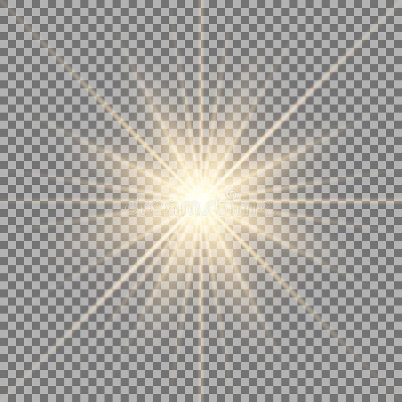 Shining star on transparent background stock illustration