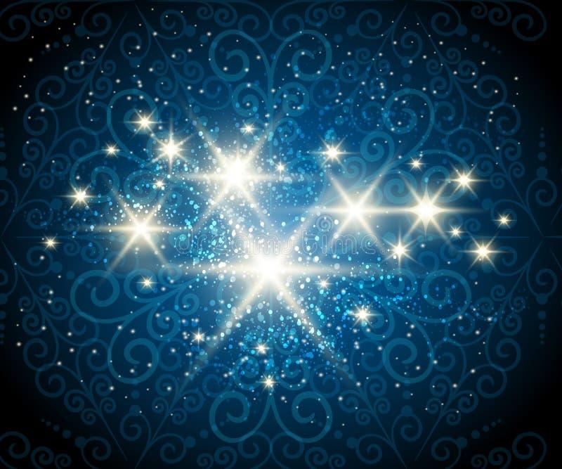 Shining Stars Blue Background. Dark blue background with shining stars against see through swirls pattern royalty free illustration
