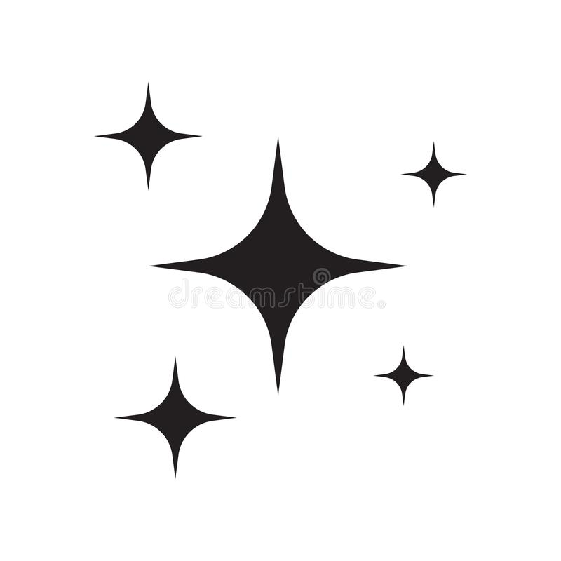 Shining stars on white background, sign of purity and gloss. Vector illustration isolated on white background royalty free illustration