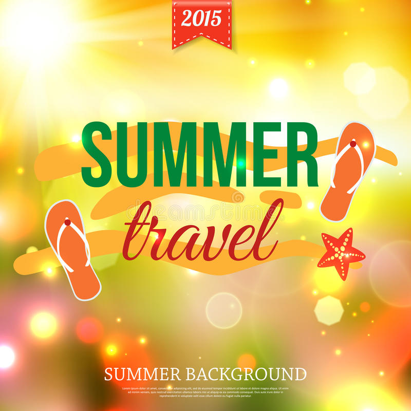 Shining summer travel typographical background. With blurred bokeh lights and place for text. Vector illustration royalty free illustration