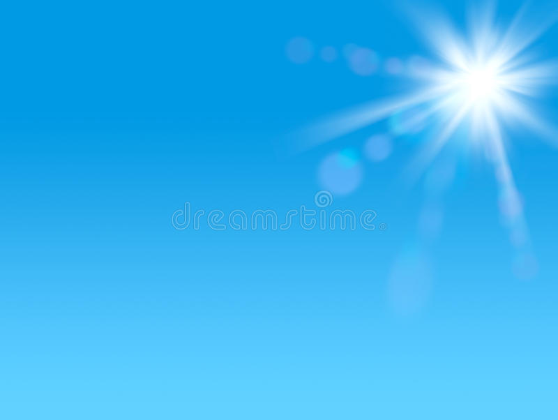 Shining sun at clear blue sky with copy space vector illustration