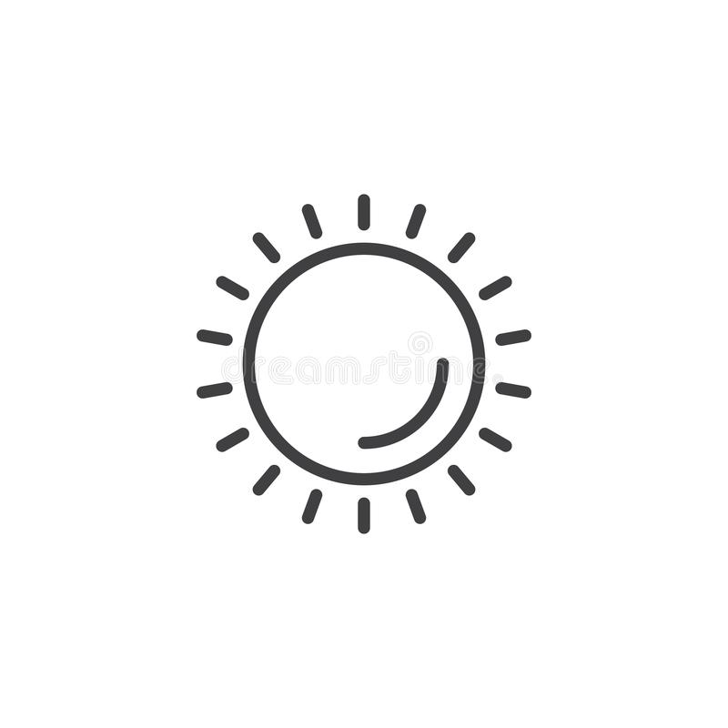 Shining sun outline icon stock illustration