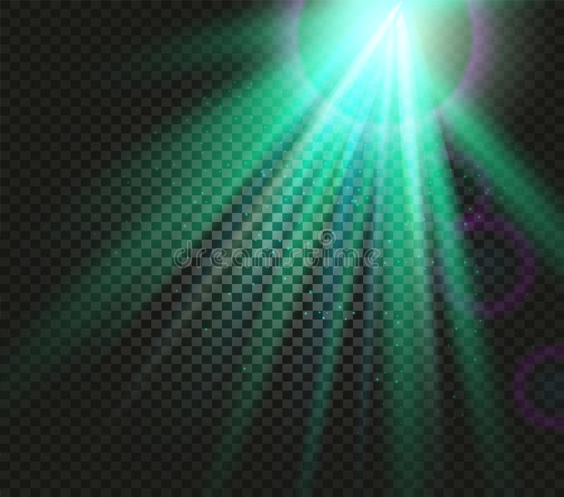 Shining vector green color light effects, glowing beams on checkered background, illumination vector illustration royalty free illustration