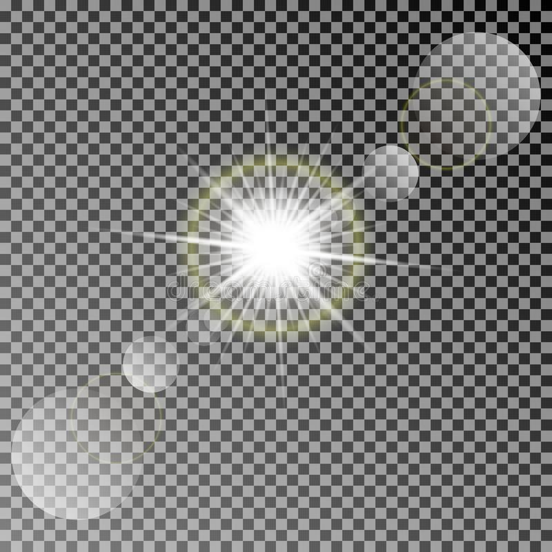 Shining vector sun with colorful light effects. Transparent vector sun light with bokeh isolated on dark background. Shining vector sun with colorful light royalty free illustration