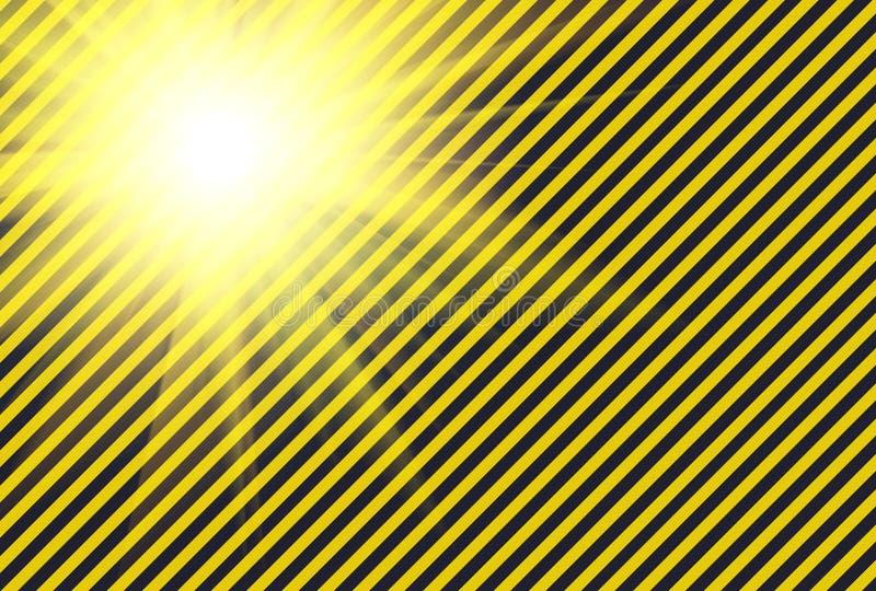 Shining warning black and yellow diagonal lines. Useful like background royalty free illustration