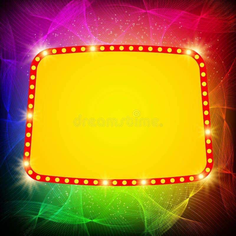 Shining waves background with retro casino light banner. Vector illustration stock illustration