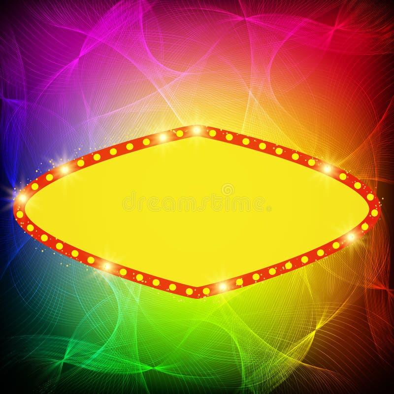 Shining waves background with retro casino light banner. Vector illustration vector illustration