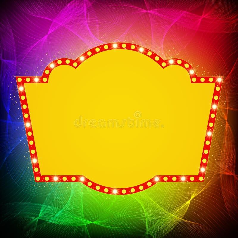 Shining waves background with retro casino light banner. Vector illustration royalty free illustration