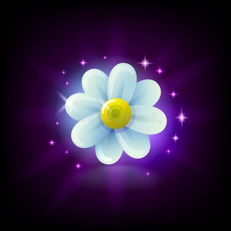 Shining white chamomile flower slot icon with sparkles for online casino or mobile game, vector illustration on dark royalty free illustration