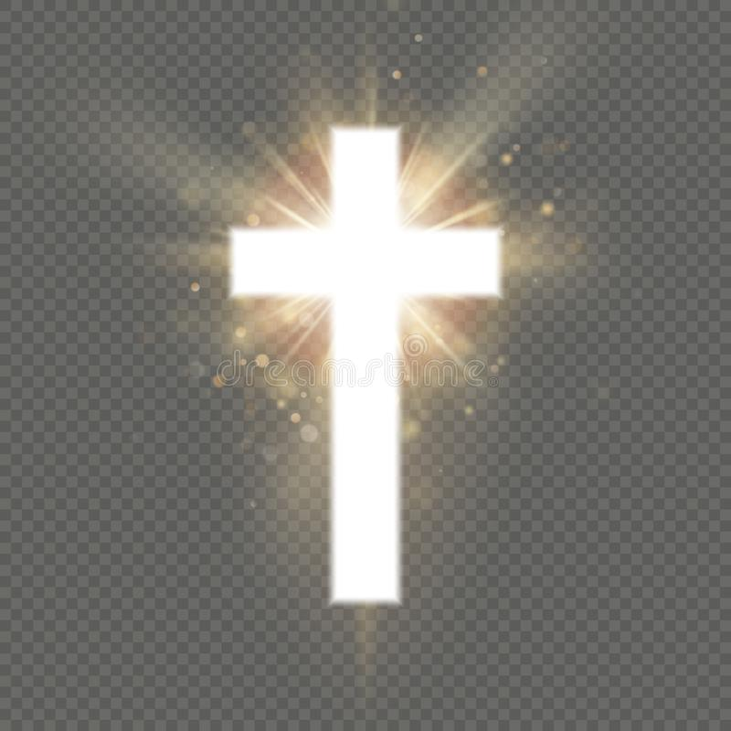 Shining white cross effect on transparent background. Shining saint cross. Riligious symbol. Easter and Christmas sign. EPS 10 vector file included stock illustration