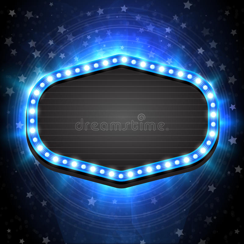 Shining winter empty blue retro light frame banner template on Christmas background. Vector illustration EPS 10. vector illustration