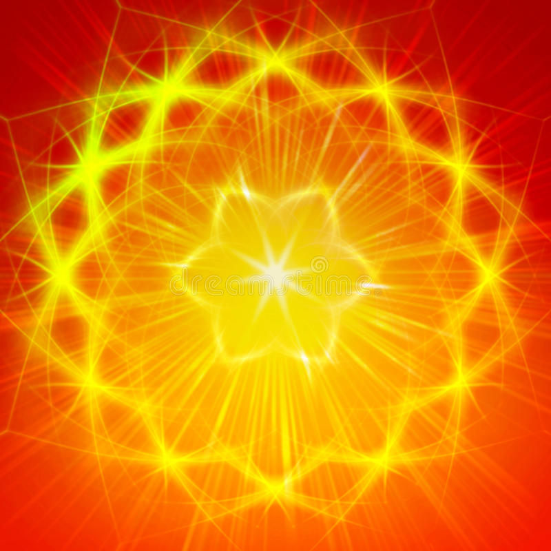 Shining yellow lights like mandala vector illustration