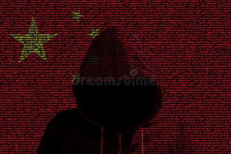 Shininhg del pirata informático a través de la bandera de código china de ordenador libre illustration