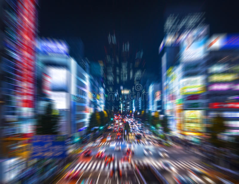 Shinjuku Skyscraper Cityscape Night Zoom, Tokyo, Japan. Shinjuku Skyscraper Cityscape at night, with a zoom effect applied royalty free stock images