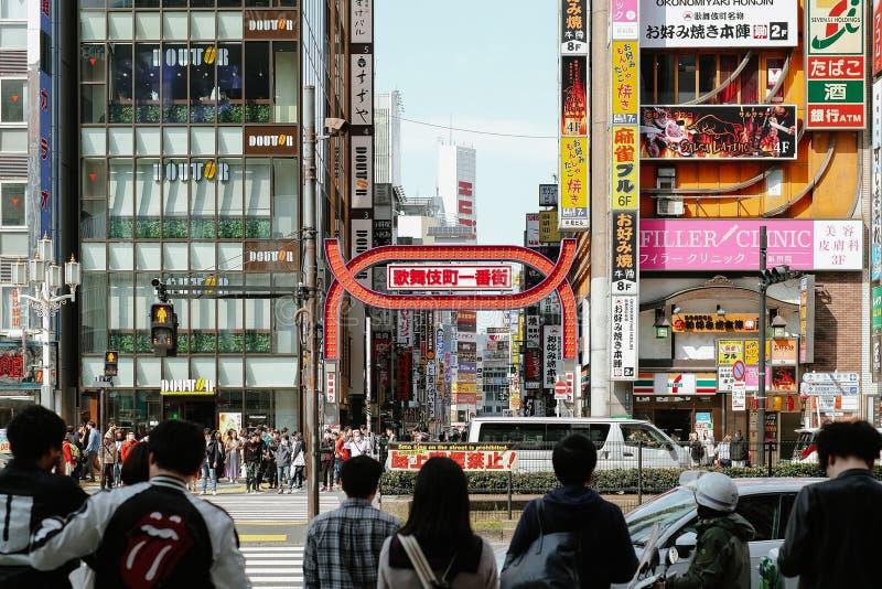 Shinjuku Tokyo, Japon - 6 avril 2019 : Centre commercial de rue de Kabukicho, divertissement, barre et restaurant célèbres mêmes photos libres de droits
