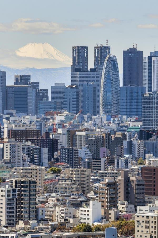 Shinjuku y el monte Fuji imagenes de archivo