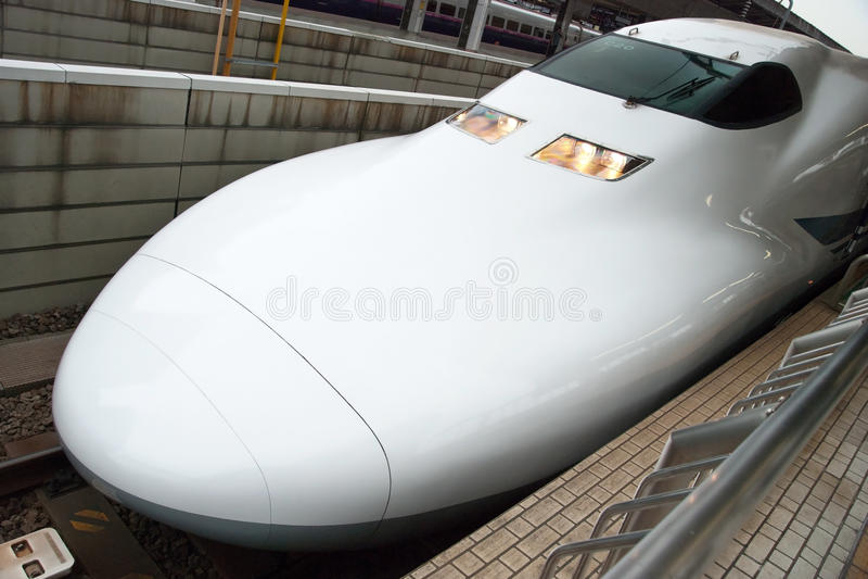 Shinkansen bullet train. Tokyo, Japan - May 20, 2012: Shinkansen bullet train at Tokyo main railway station in May 2012 Tokyo, Japan.The Shinkansen is the world' stock photography