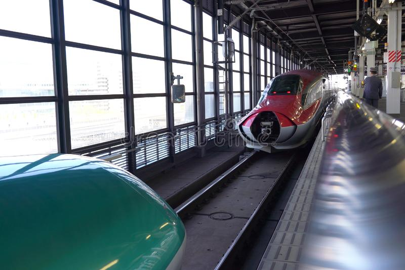 Shinkansen Hayabusa and Komachi combination and separation stock images