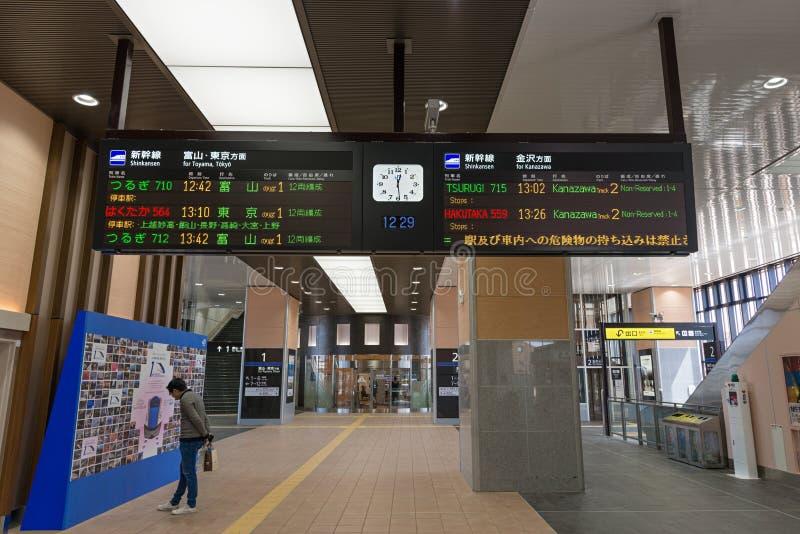 Shinkansen-Kugel-Zug oder Hochgeschwindigkeitszug-Informationsbrett lizenzfreie stockbilder