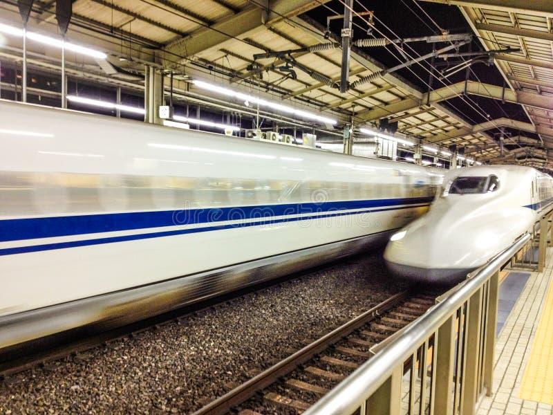 Shinkansen train arriving. Shinkansen japanese bullet train arriving in station royalty free stock photos