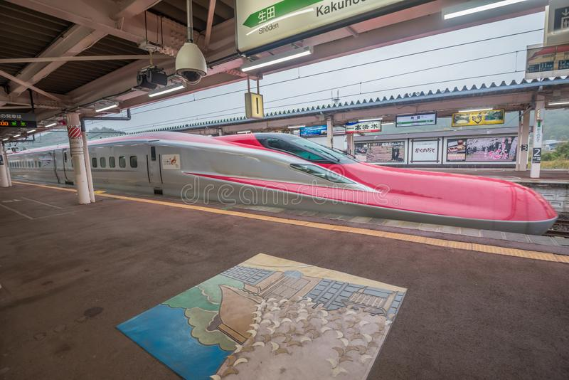 Shinkansenultrasnelle trein bij Kakunodate-post royalty-vrije stock foto