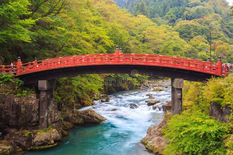 Shinkyo Bridge in autumn at Nikko royalty free stock photo