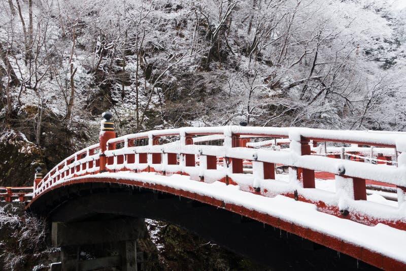 Shinkyo most w Nikko, Japonia w zimie obraz stock