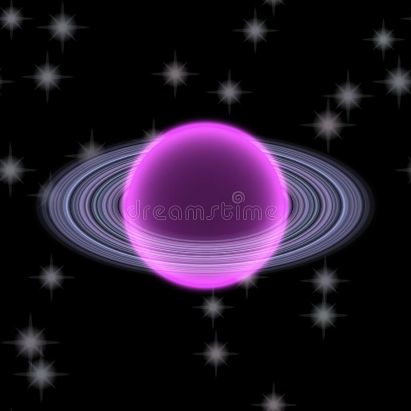 Shinning планета в далеком uniferse Абстрактная планета с красочным кольцом где-то иллюстрация вектора