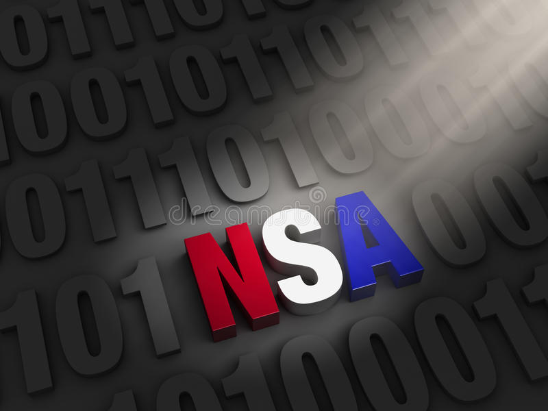 Shinning a Light NSA Cyber Spying. A spotlight illuminates a bold, red, white and blue NSA hidding on a dark background of 1s and 0s royalty free illustration