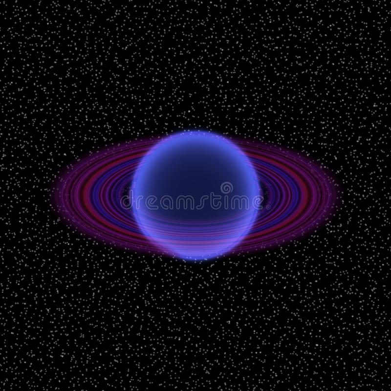 Shinning planet in far uniferse. Abstract planet with colorful ring somewhere royalty free illustration