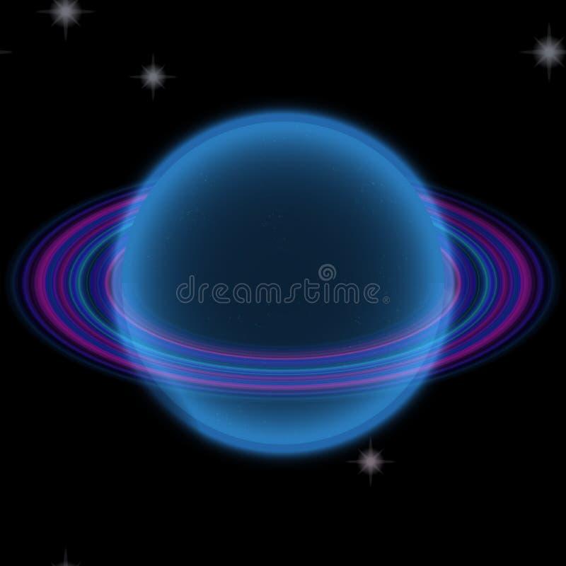 Shinning planet i avlägsen uniferse Abstrakt planet med den färgrika cirkeln någonstans stock illustrationer