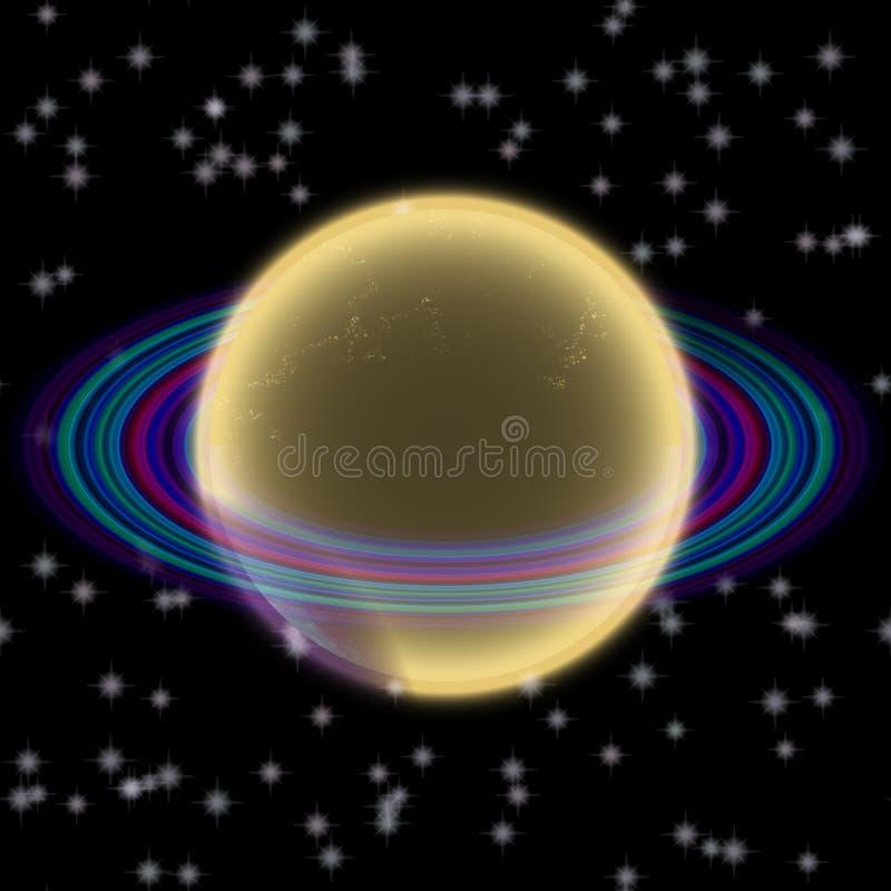 Shinning planet i avlägsen uniferse Abstrakt planet med den färgrika cirkeln någonstans vektor illustrationer
