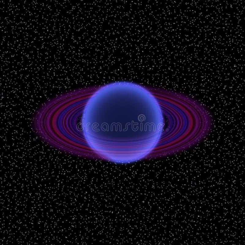 Shinning planet i avlägsen uniferse Abstrakt planet med den färgrika cirkeln någonstans royaltyfri illustrationer