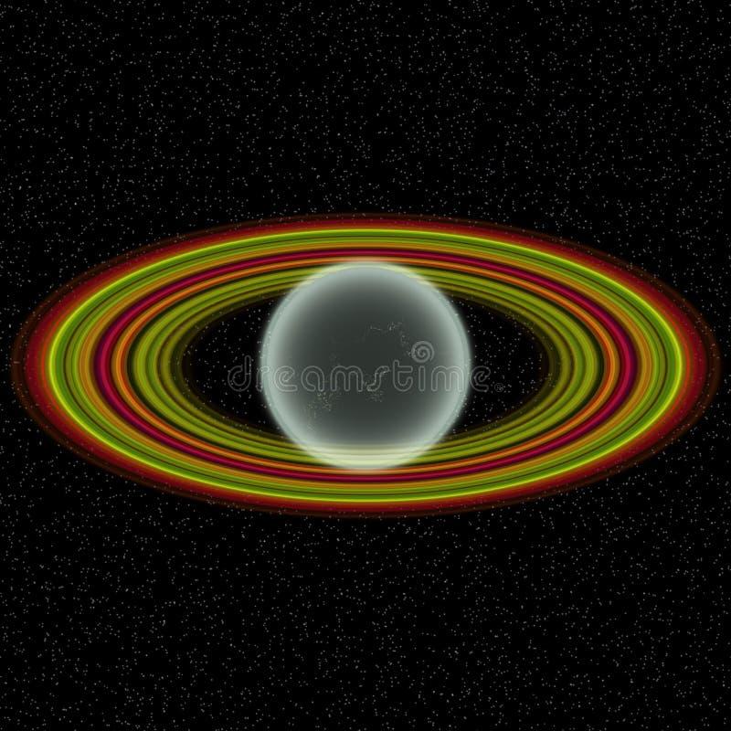 Shinningsplaneet in ver uniferse Abstracte planeet met kleurrijke ring ergens stock illustratie