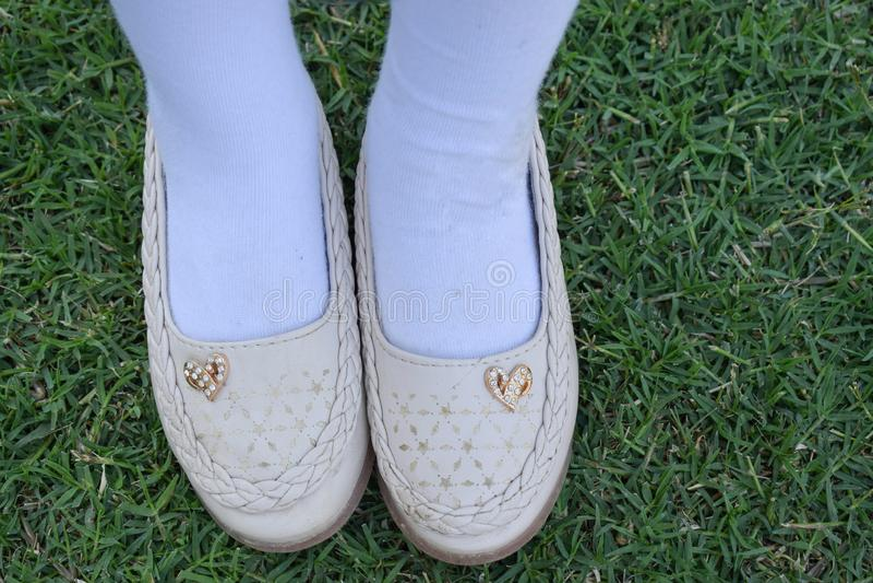 Shinny le calzature sull'erba Ragazza con le belle scarpe Scarpe di cuoio isolate su un'erba Vista superiore delle paia della sca fotografia stock libera da diritti