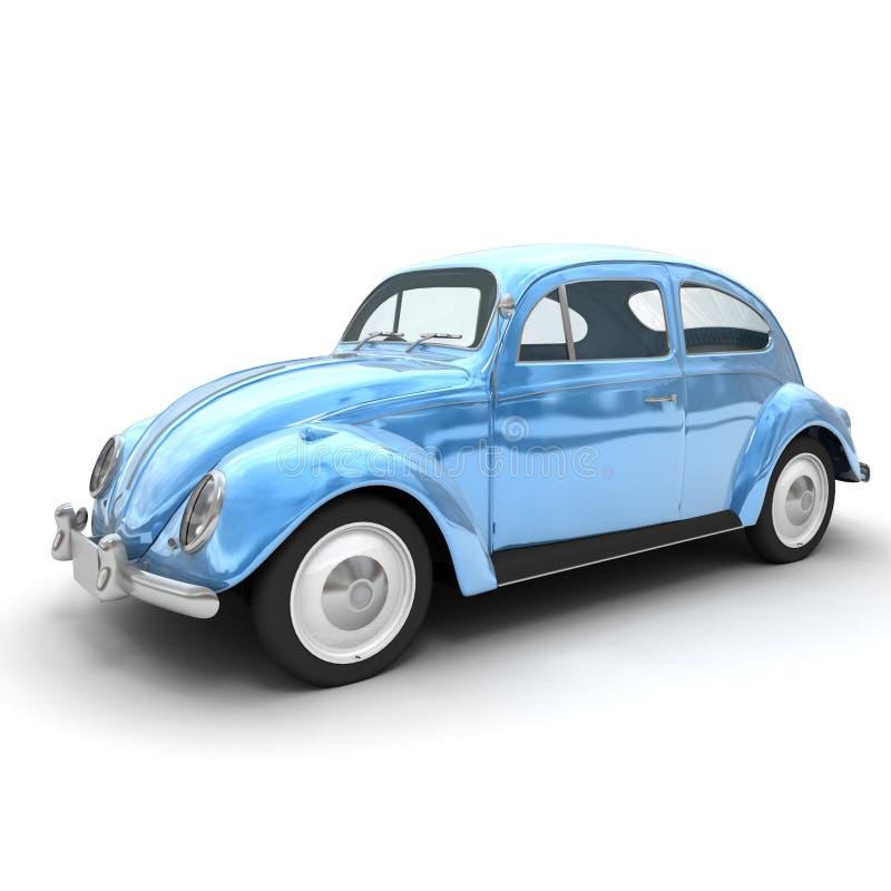 Shinny o carro europeu azul do vintage ilustração do vetor
