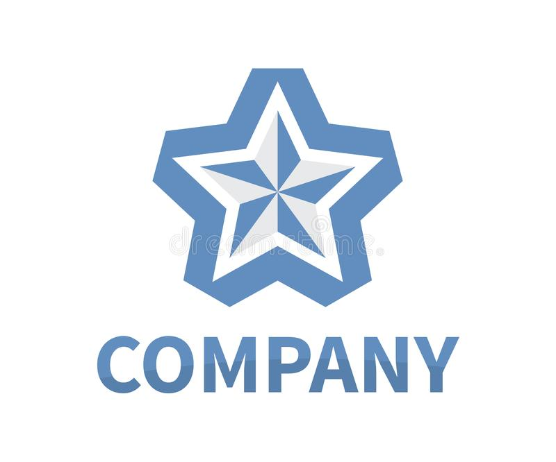 Star ribbon logo 1. Shinny star shape from blue color ribbon logo design idea concept illustration for modern company concept royalty free illustration