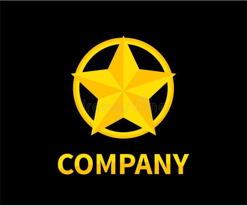 Star ribbon logo 1. Shinny star shape in gold color circle logo design idea concept illustration for modern company concept royalty free illustration